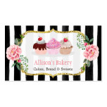 Sweet Bakery Cupcakes Gold Pink Floral Striped Pack Of Standard Business Cards