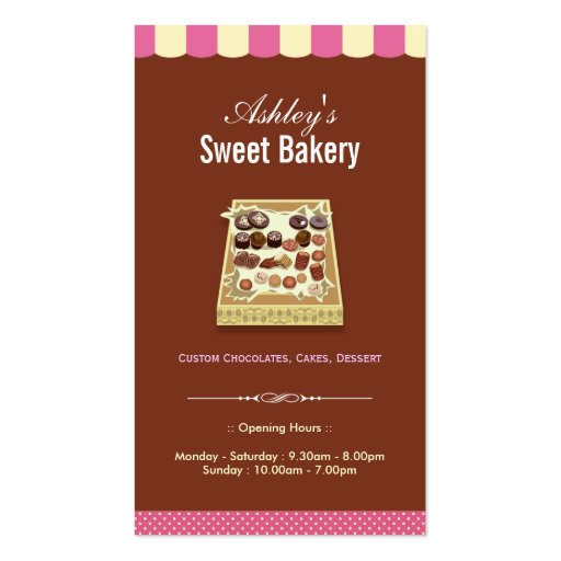 Sweet Bakery Shop - Box of Chocolates Dessert Business Cards