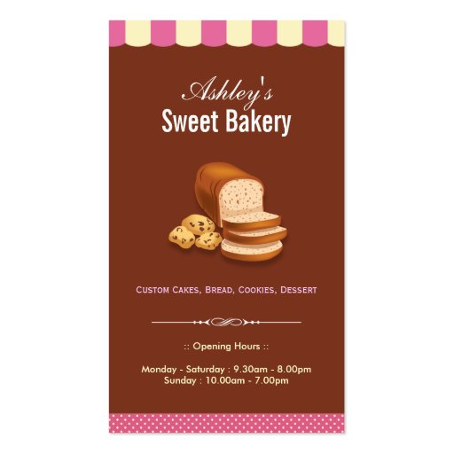 Sweet Bakery Shop - Breads Donuts Toasts Dessert Business Card