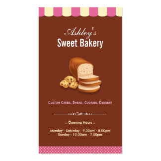 Sweet Bakery Shop - Breads Donuts Toasts Dessert Pack Of Standard Business Cards