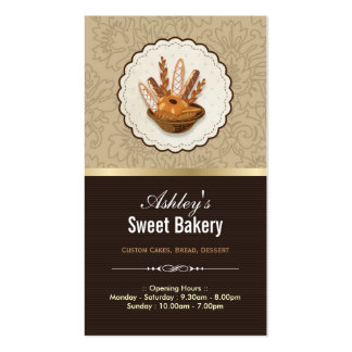 Sweet Bakery Shop - Breads Rolls Cupcakes Dessert Pack Of Standard Business Cards