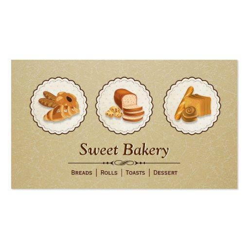 Sweet Bakery Shop - Breads Rolls Toasts Dessert Business Card Template
