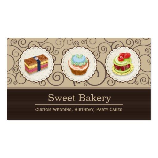Sweet Bakery Shop - Custom Cupcake Pies Business Card Templates