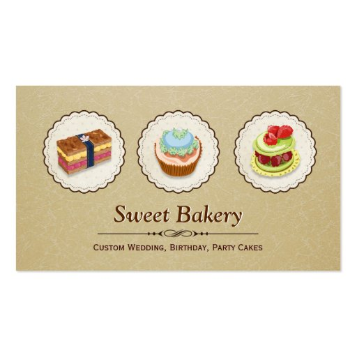 Sweet Bakery Shop - Custom Cupcake Pies Business Card Template