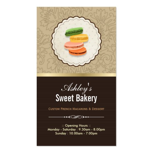 Sweet Bakery Shop - Macaroons Macarons Pastries Business Cards