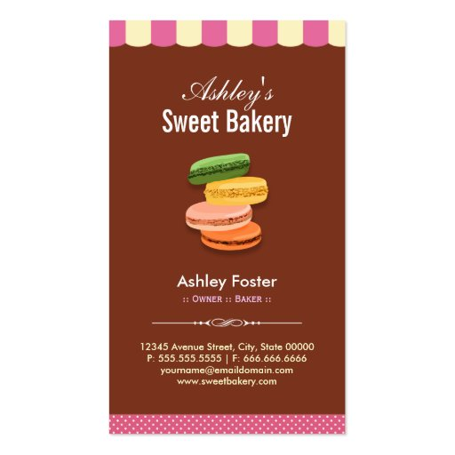 Sweet Bakery Shop - Macaroons Macarons Pastries Business Card Template