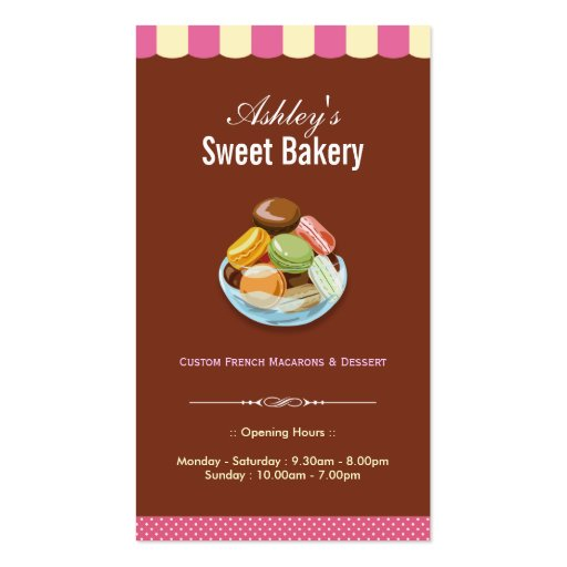 Sweet Bakery Shop - Macaroons Macarons Pastries Business Card Templates