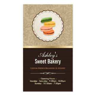 Sweet Bakery Shop - Macaroons Macarons Pastries Pack Of Standard Business Cards