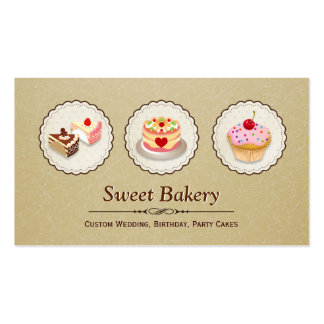 Sweet Bakery Store - Custom Cakes Pastry Cupcake Pack Of Standard Business Cards