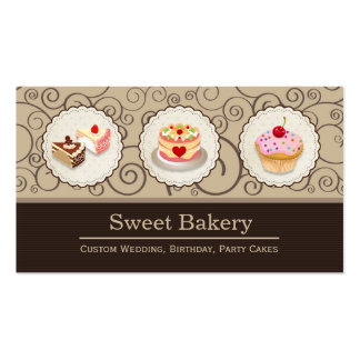 Sweet Bakery Store - Custom Pastry Cake Cupcake Pack Of Standard Business Cards