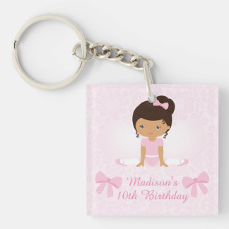 Sweet Ballerina Birthday Party Personalized Single-Sided Square Acrylic Key Ring