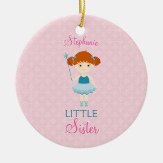 Sweet Ballerina Little Sister Round Ceramic Decoration