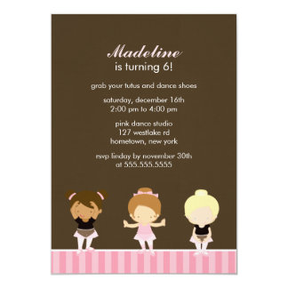 Sweet Ballet Dancers Girls Birthday Party 13 Cm X 18 Cm Invitation Card