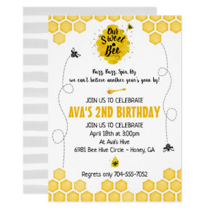 Honey Bee Birthday Invitations Zazzle Au