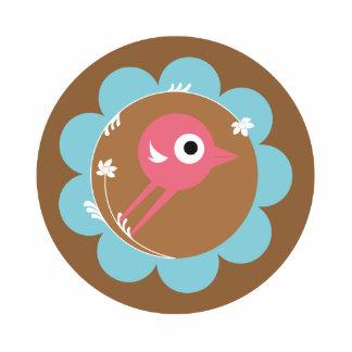 SWEET BIRD BLUE BROWN STANDING PHOTO SCULPTURE
