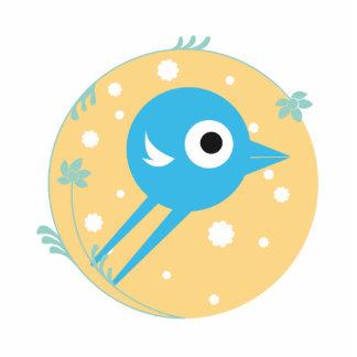 SWEET BIRD BLUE YELLOW STANDING PHOTO SCULPTURE