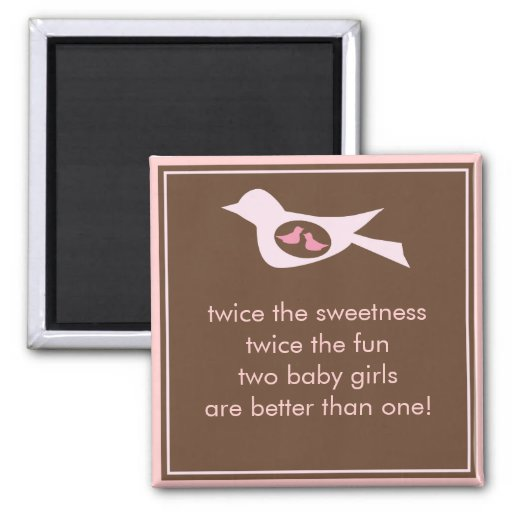 Sweet Bird Mommy with Twin Baby Girls Magnets