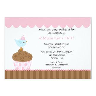 Sweet Bird on Cupcake Birthday Invitation