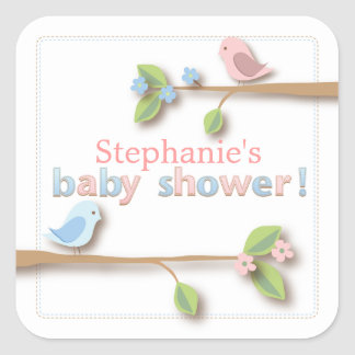 Sweet Birdie Pink & Blue Baby Shower Sticker