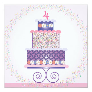 Sweet Birthday Cake Birthday Party Invitation