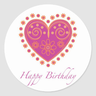Sweet birthday sticker with a heart