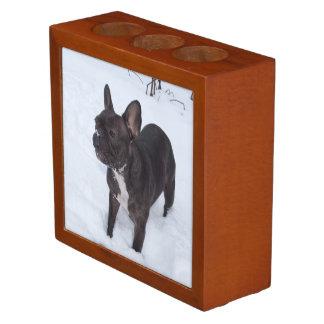 Sweet Black French Bulldog Likes Snow Desk Organiser