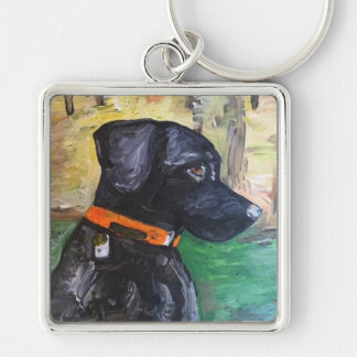 Sweet Black Lab Keychain by Willowcatdesigns