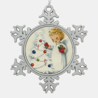 Sweet Blonde Angel Decorating Christmas Tree Snowflake Pewter Christmas Ornament