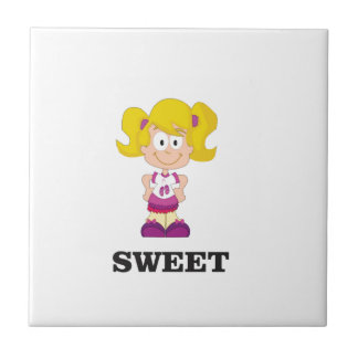 sweet blondie small square tile
