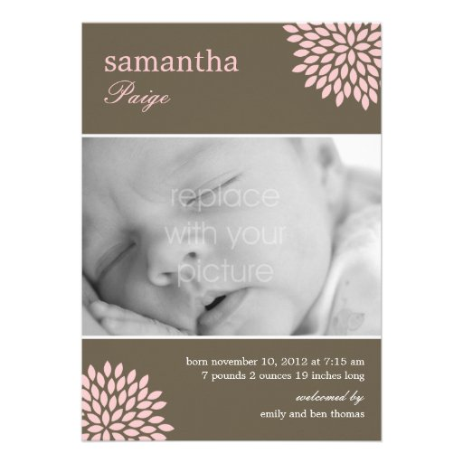 Sweet Bloom Baby Girl Birth Announcement Custom Announcement