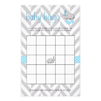 Sweet Blue and Gray Elephant Baby Shower Bingo Stationery