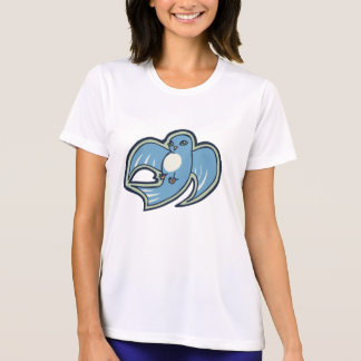 Sweet Blue And White Bird Ink Drawing Design T-Shirt