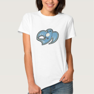 Sweet Blue And White Bird Ink Drawing Design Tee Shirt