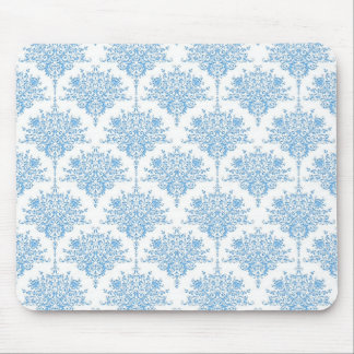 Sweet Blue and White Damask Pattern Mouse Pad