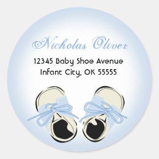 Sweet Blue Baby Shoe Address Label