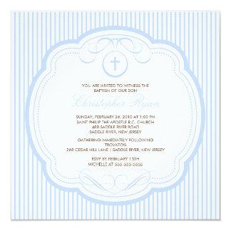 Sweet Blue Cross Baby Boy Baptism Inviation 13 Cm X 13 Cm Square Invitation Card