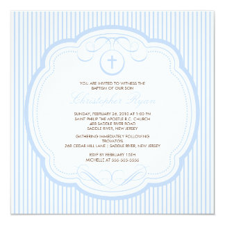 Sweet Blue Cross Baby Boy Baptism Inviation 13 Cm X 13 Cm Square Invitation Card