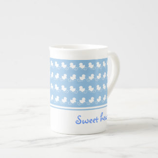 sweet blue design with row of white ducks bone china mug