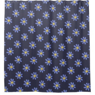 Sweet Blue Graphic Flowers Pattern any Color Shower Curtain