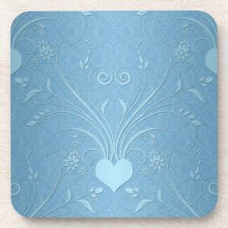 Sweet Blue Heart Flowers Beverage Coasters