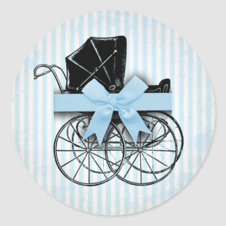 Sweet Blue Vintage Baby Carriage Pram and Bow Classic Round Sticker