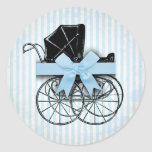 Sweet Blue Vintage Baby Carriage Pram and Bow Round Stickers