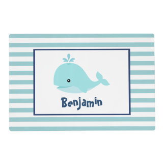 Sweet Blue Whale Kids Laminated Placemat
