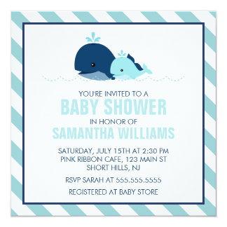 Sweet Blue Whales Boy Baby Shower 13 Cm X 13 Cm Square Invitation Card