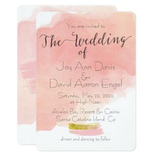 Sweet Blush Pink Watercolor Wash Wedding Card