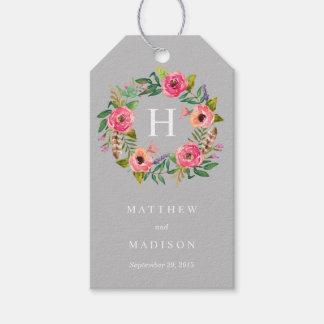 Sweet Bohemian Wreath in Gray   Wedding Gift Tags