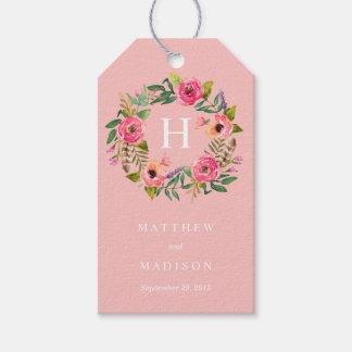 Sweet Bohemian Wreath in Pink   Wedding Gift Tags