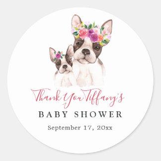 Sweet Boston Dog Thank You Baby Shower Classic Round Sticker