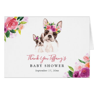 Sweet Boston Mom And Baby Floral Baby Shower Card
