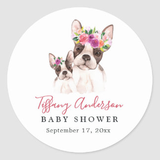 Sweet Boston Mom And Baby Floral Baby Shower Classic Round Sticker